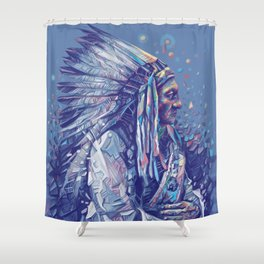native american portrait-sitting bull Shower Curtain