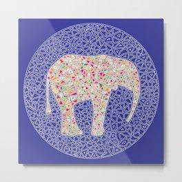 Elephant Circle Metal Print