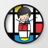 mondrian Wall Clocks featuring Kokeshi Mondrian by Pendientera