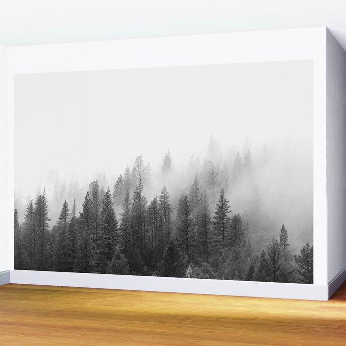 50bcfd224343 Misty Forest Wall Mural by summersunhomeart