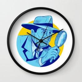 Detective Holding Magnifying Glass Circle Drawing Wall Clock