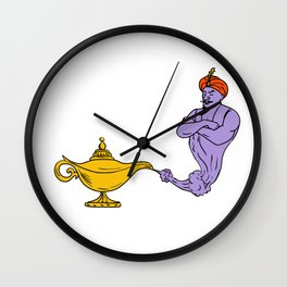 Genie Coming Out of Golden Oil Lamp Drawing Color Wall Clock