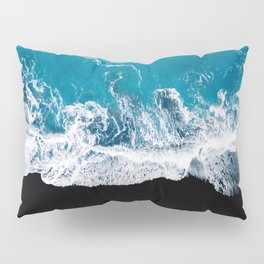 Black sand beach with waves and blue Ocean in Iceland – Minimal Photography Pillow Sham