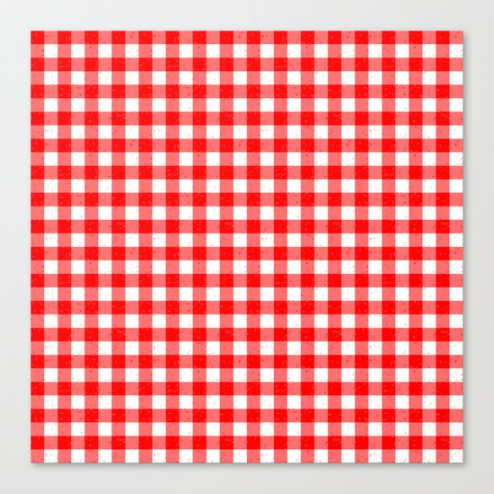 Gingham Red and White Pattern Canvas Print
