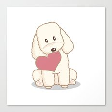 Toy Poodle Dog with Love Illustration Canvas Print