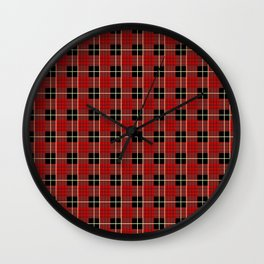 Red tartan Wall Clock