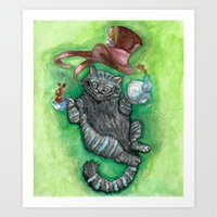 cheshire cat Art Prints featuring Cheshire by Gaab D'Amato