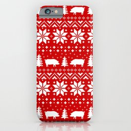 Pig Silhouettes Christmas Holiday Pattern iPhone Case