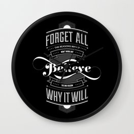 Lab No. 4 - Work and Believe Inspirational Typography Quotes Poster Wall Clock