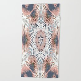 Tribe Coral and Steel Beach Towel