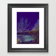 Frozen Lake and Purple Sky Framed Art Print