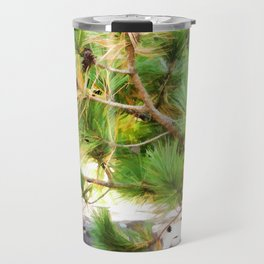 Evergreen tree branches with cones Travel Mug