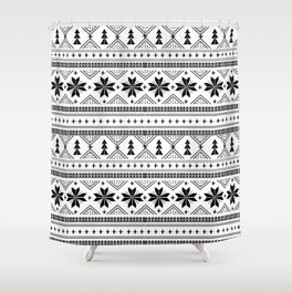 Fair Isle christmas pattern snowflakes camping winter trees christmas tree minimal black and white Shower Curtain