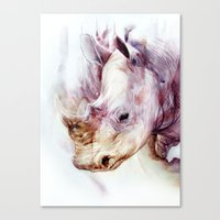 rhino Canvas Prints featuring RHINO by beart24