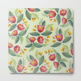 Red & Yellow Floral Pattern Metal Print