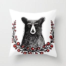Bear & Berries Throw Pillow
