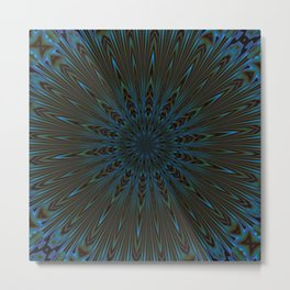 Teal and Brown Feather Abstract Metal Print