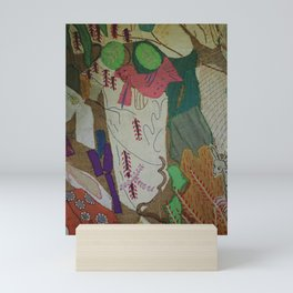 Bird on textures and patterns Mini Art Print