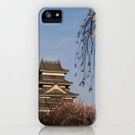 Matsumoto castle during Spring cherry blossom iPhone Case