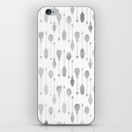 Simple white gray watercolor hand painted bohemian arrows feathers iPhone Skin
