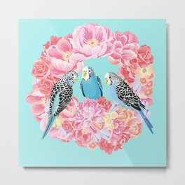 Birds of Paradise Parakeets Blue budgie Pink Peonies Flowers Wreath Metal Print