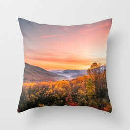 Autumn Sunrise in the Great Smoky Mountains of Tennessee Throw Pillow
