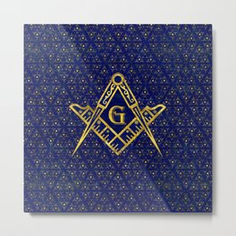 Freemasonry symbol Square and Compasses Metal Print