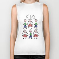 kids Biker Tanks featuring Kids by Digital-Art