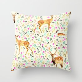 Deers #society6 #illustration #christmas Throw Pillow