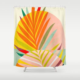 minimal leave tropical spring Shower Curtain