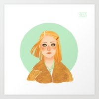 tenenbaum Art Prints featuring Margot Tenenbaum by Galaxyspeaking