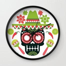 Mexican Cinco De Mayo Skull Party Wall Clock