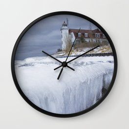 Point Betsie Lighthouse in Winter Wall Clock