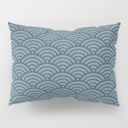 Blue Indigo Denim Waves Pillow Sham