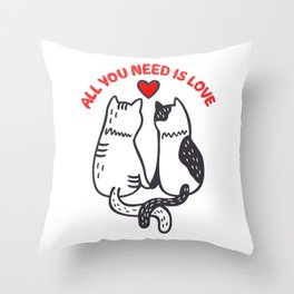 Two Valentine Cats Throw Pillow
