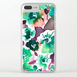Zoe Floral Sea Green Clear iPhone Case