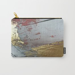 Darling [2]: a minimal, abstract mixed-media piece in pink, white, and gold by Alyssa Hamilton Art Carry-All Pouch