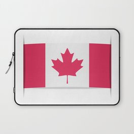 Flag of Canada. The slit in the paper with shadows. Laptop Sleeve