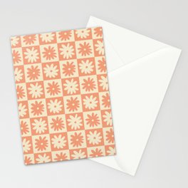 Peach And Off White Checkered Floral Pattern Stationery Cards