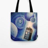 tardis Tote Bags featuring TARDIS by Colunga-Art