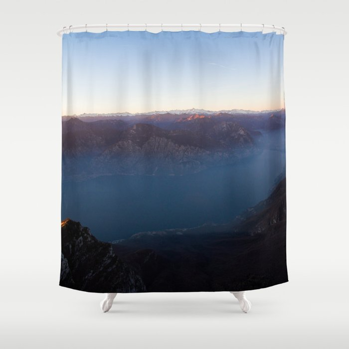 monte baldo garda lake italy drone shot aerial view sunset mountains dust Shower Curtain