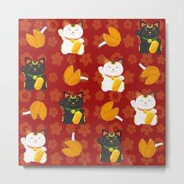 Chinese Good Luck Cats, maneki-neko Metal Print