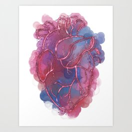 Abstract Alcohol Ink Anatomical Heart Art Print