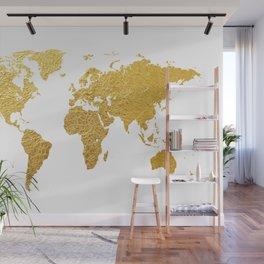 World Map Gold Foil Wall Mural