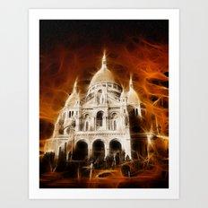 Sacred Heart Basilica in Paris Art Print