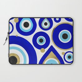 Evil Eye Charms on White Laptop Sleeve