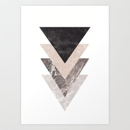 Geometric Shapes. Marble Triangles. Art Print