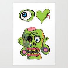 I Heart Zombies / I love Zombies Art Print