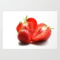 strawberry Art Prints featuring Strawberry by Anne Seltmann