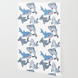 Cute Shark Pattern Wallpaper